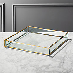 Small Brass And Glass Tray Reviews Cb2