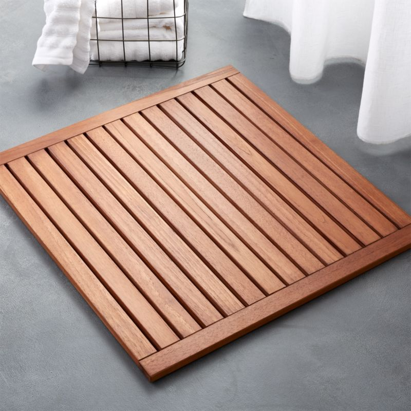 Lateral Teak Bath Mat Reviews Cb2