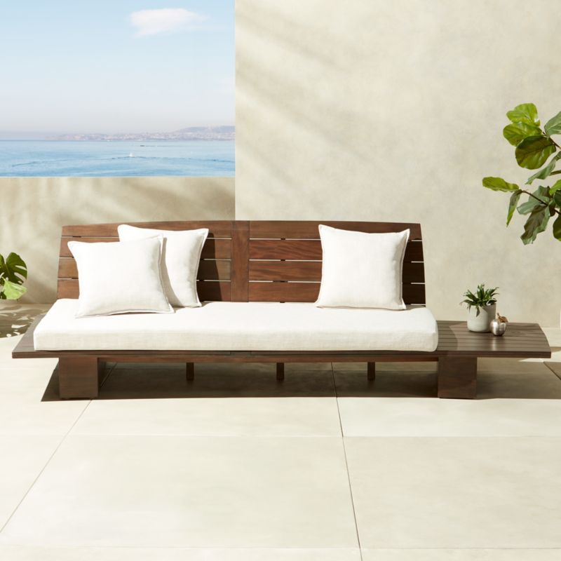 Ottoman Coffee Table Cb2: Burton Outdoor Wood Sofa + Reviews