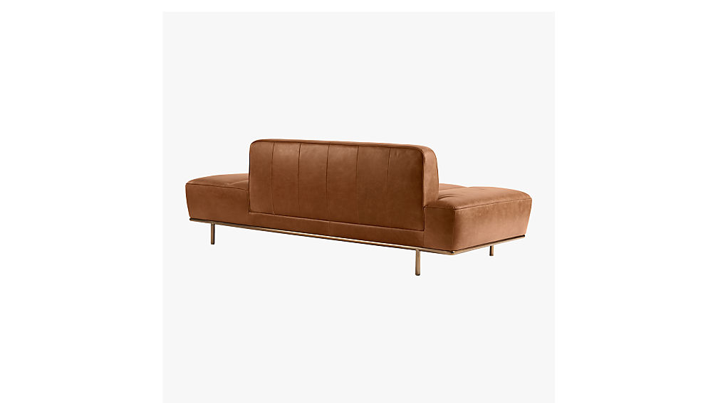 lawndale brown leather daybed with brass base