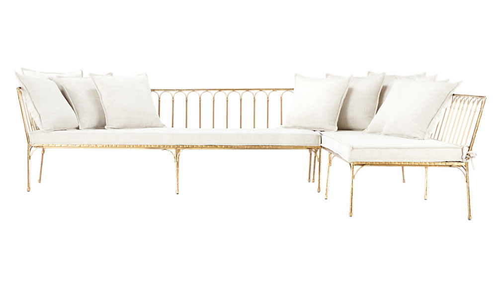 le rêve left arm sectional with ten pillows