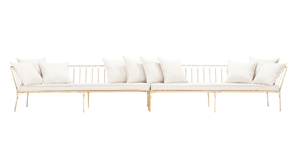 le rêve left arm-right arm sectional with ten pillows