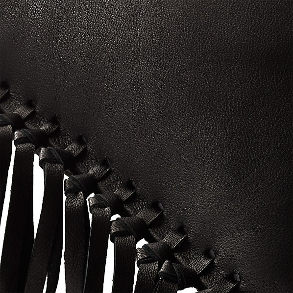 LeatherFringeBlackPillow18x12AV2F16