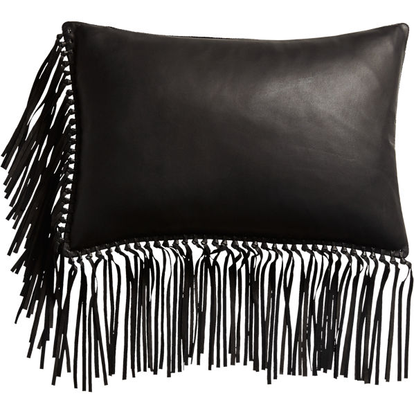 LeatherFringeBlackPillow18x12F16
