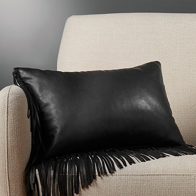 "18""x12"" leather fringe black pillow"