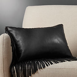"18""x12"" leather fringe black pillow with down-alternative insert"