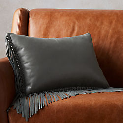 "18""x12"" leather fringe grey pillow with down-alternative insert"