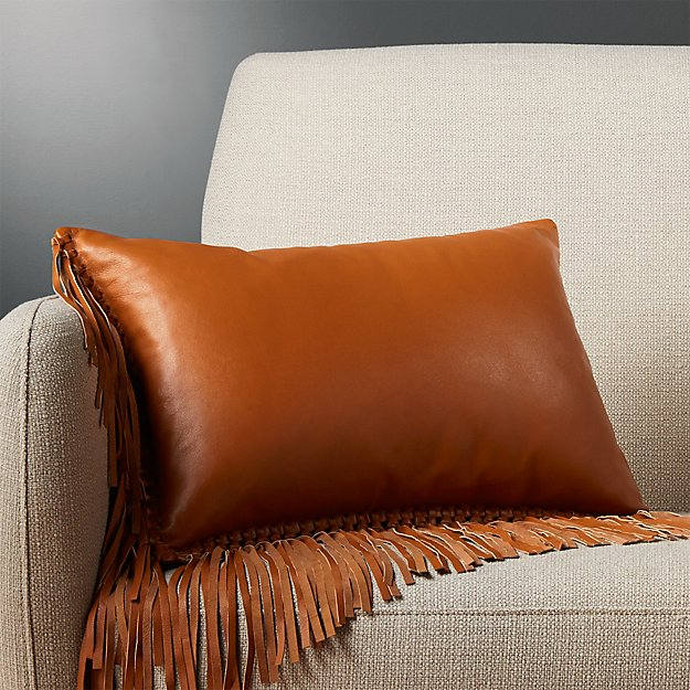 "18""x12"" leather fringe saddle pillow with down-alternative insert"