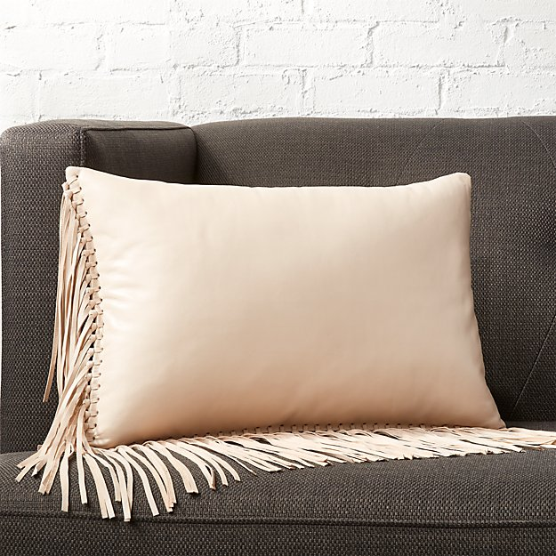 "18""x12"" Leather Fringe Ivory Pillow with Feather-Down Insert"