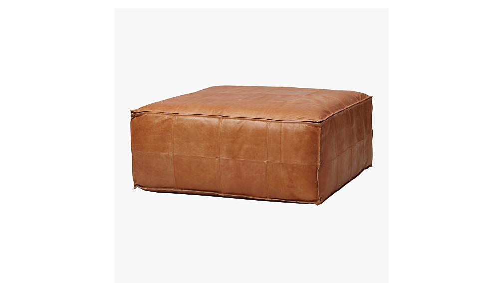 Leather Ottoman Pouf Reviews Cb2