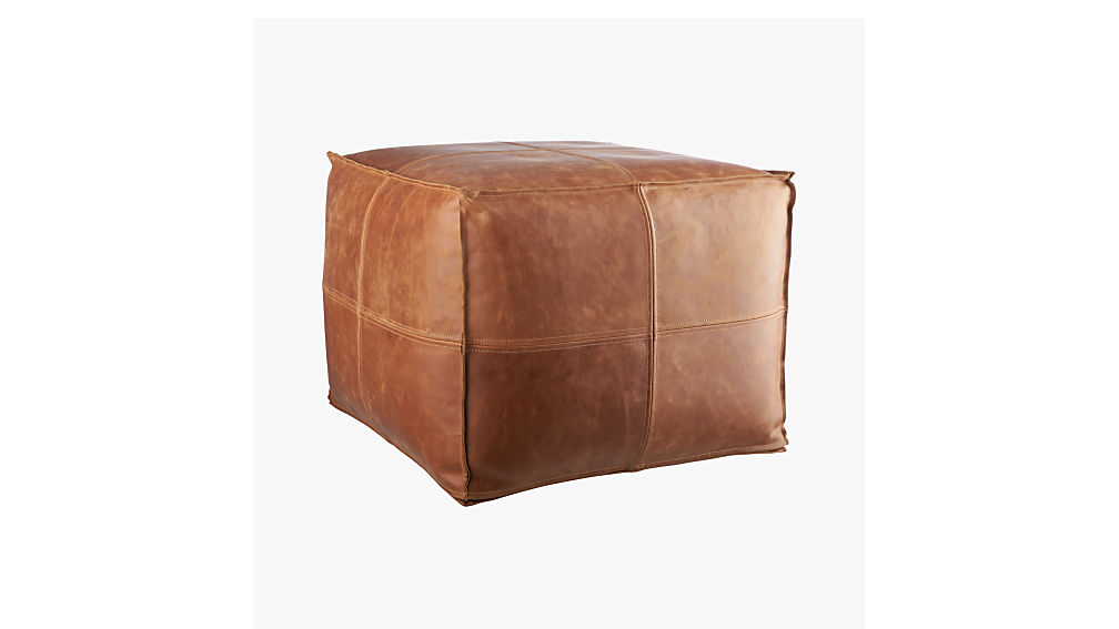 Brown Leather Pouf Reviews Cb2