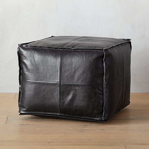 leather black pouf