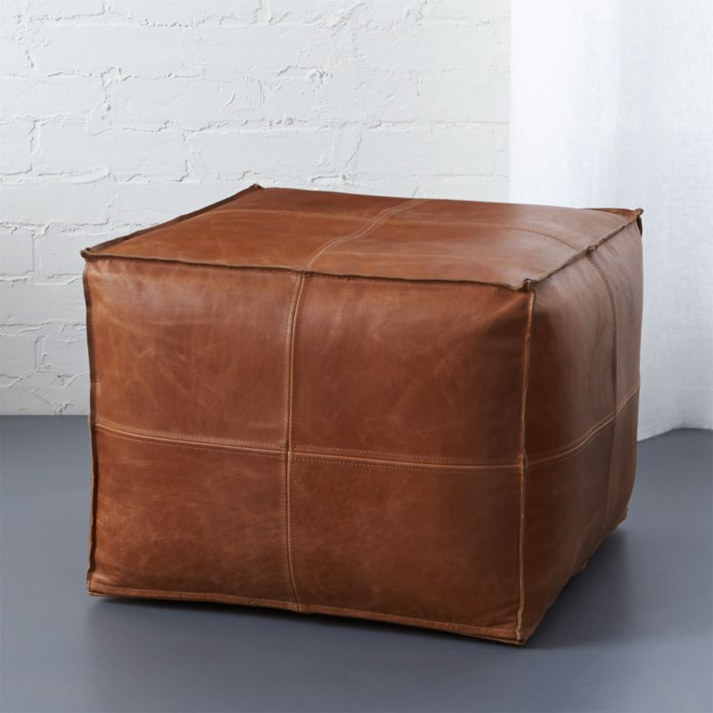 brown leather pouf | CB2