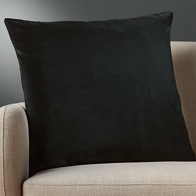 "23"" leisure black pillow with feather-down insert"