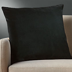 "23"" leisure black pillow with down-alternative insert"