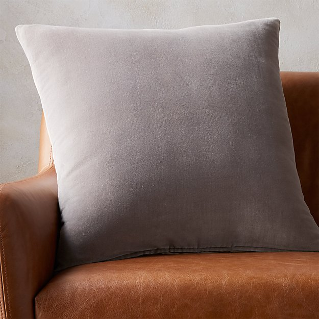 "23"" leisure grey pillow with feather-down insert"