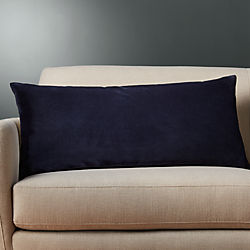 "36""x16"" leisure navy pillow with down-alternative insert"