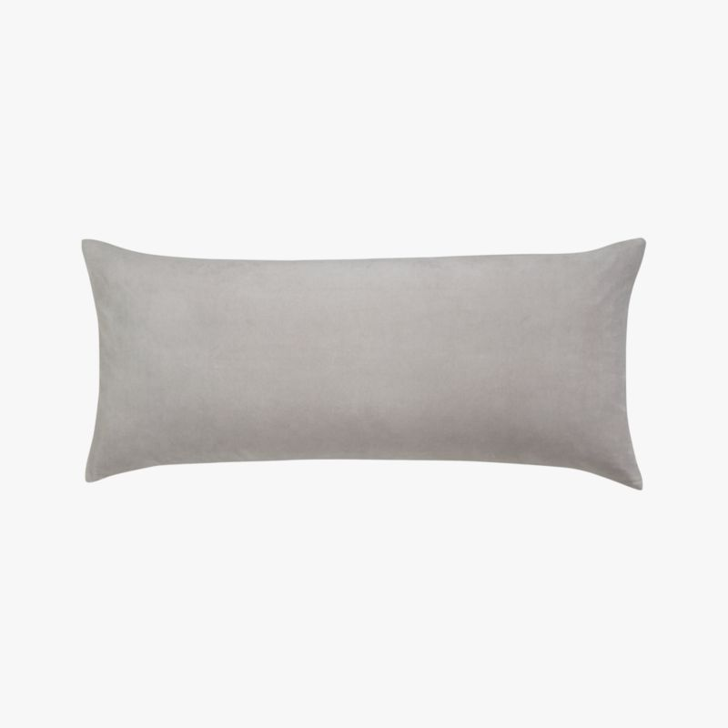 36x16 Leisure Grey Velvet Pillow CB2