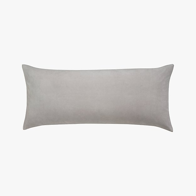 "36""x16"" leisure silver grey pillow with feather-down insert"