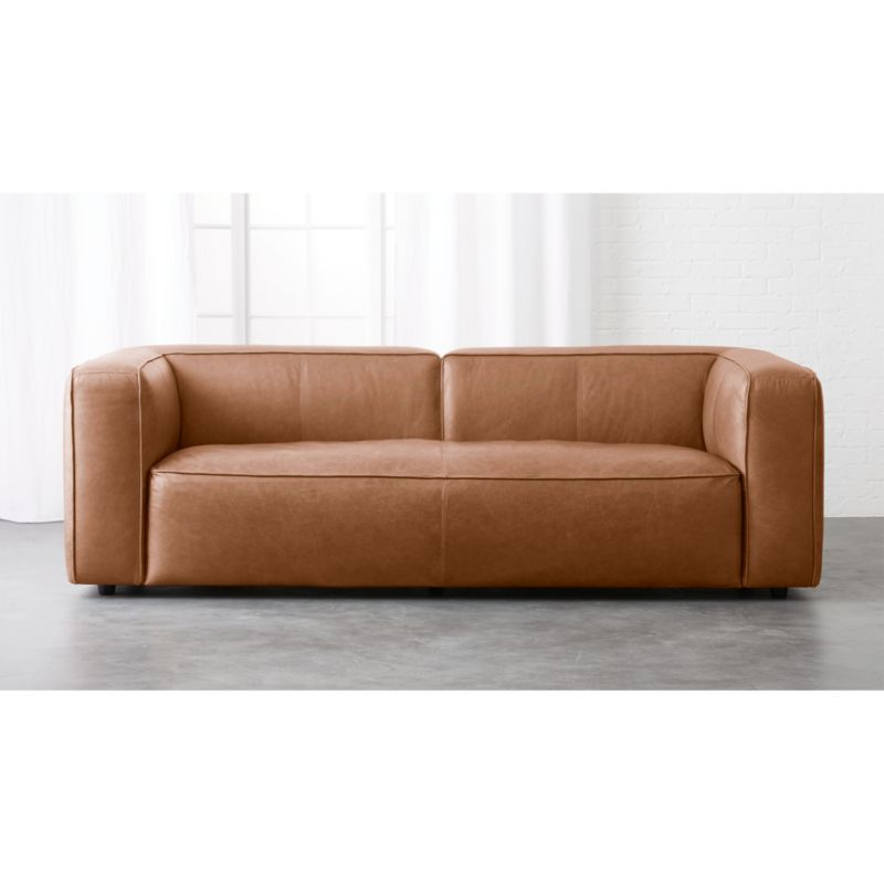 lenyx overstuffed leather sofa CB2