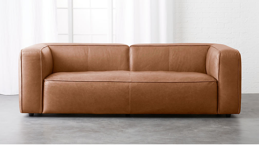 Lenyx Overstuffed Leather Sofa In Sofas Reviews Cb2