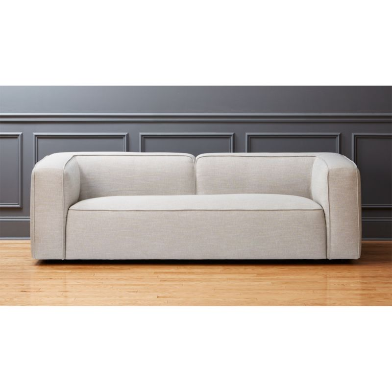lenyx light grey overstuffed sofa CB2