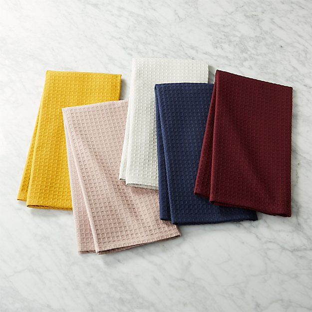 Waffle Weave Multi-Color Kitchen Towels Set Of 5 | Cb2