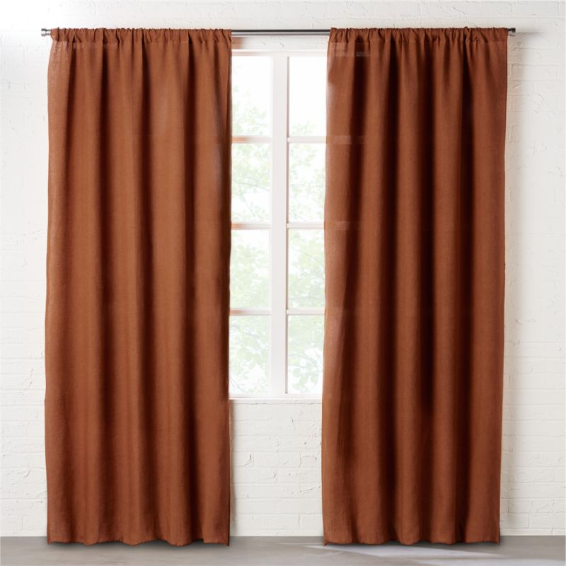 Dark Copper Linen Curtain Panel | CB2