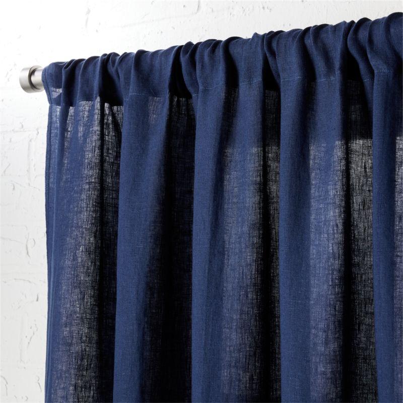 Navy Linen Curtain Panel 48 Quot X108 Quot Cb2