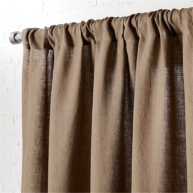 "taupe linen curtain panel 48""x120"""