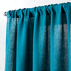 "linen teal curtain panel 48""x84"""