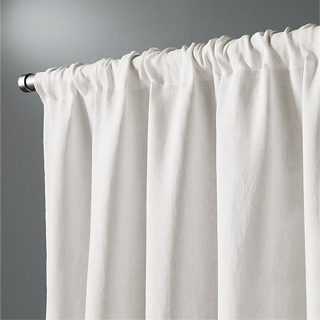 White Linen Curtain Panel 48 X84 Cb2