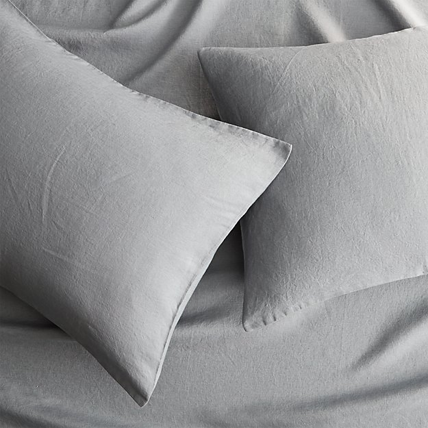 set of 2 linen cement standard pillowcases