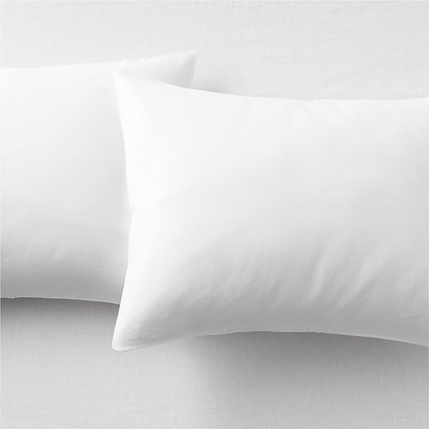 set of 2 linen white standard pillowcases.