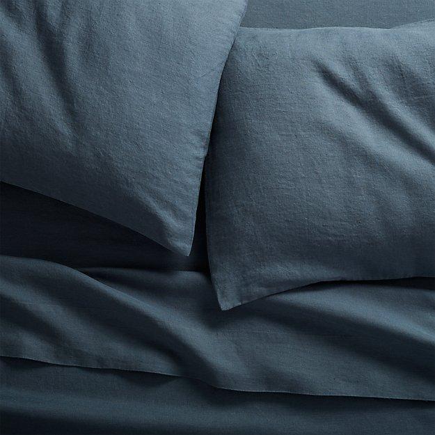 linen navy queen sheet set