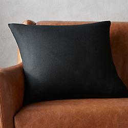 "20"" linon black pillow with down-alternative insert"