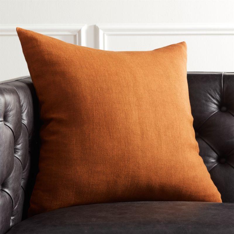 20 Quot Linon Copper Pillow Cb2