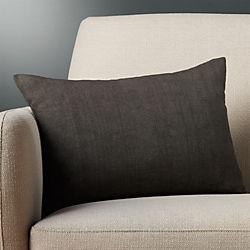 "18""x12"" linon dark grey pillow with down-alternative insert"