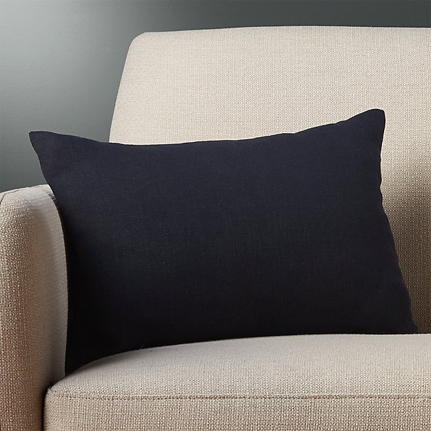 "18""x12"" linon navy pillow with feather-down insert"
