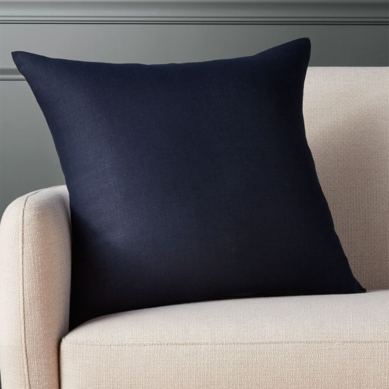 "20"" Linon Navy Pillow With Feather Down Insert by Crate&Barrel"