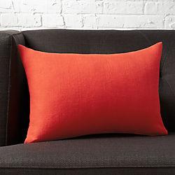 "18""x12"" linon red-orange pillow with down-alternative insert"