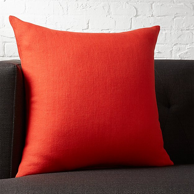 "20"" linon red-orange pillow"