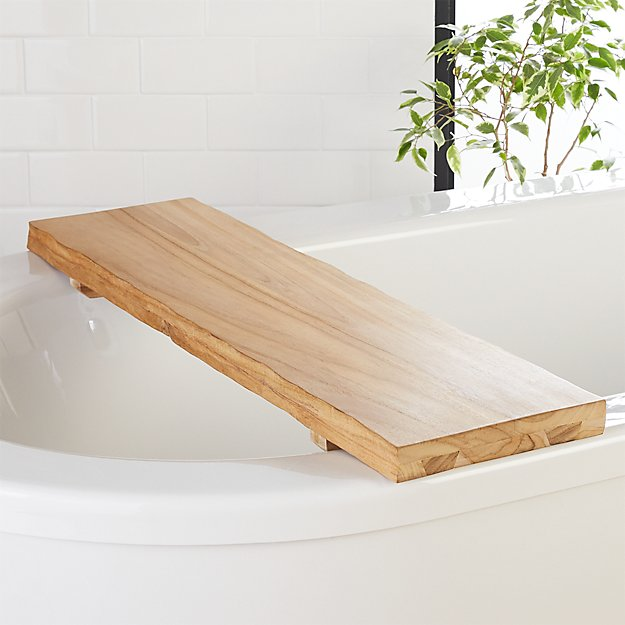 Live Edge Wood Bath Caddy Reviews Cb2