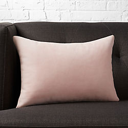 "18""x12"" loki blush leather pillow with down-alternative insert"
