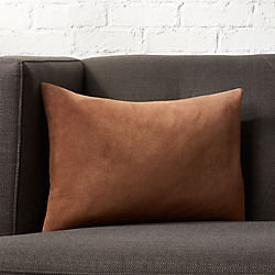"18""x12"" Loki Brown Suede Pillow with Feather-Down Insert."