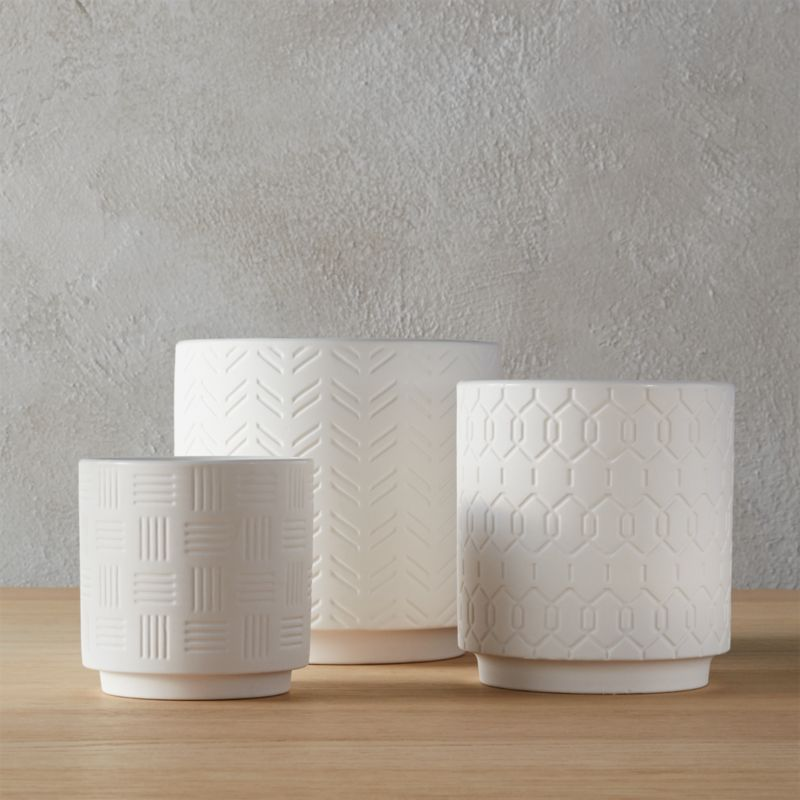 3 Piece White Planter Set In Planters Reviews Cb2