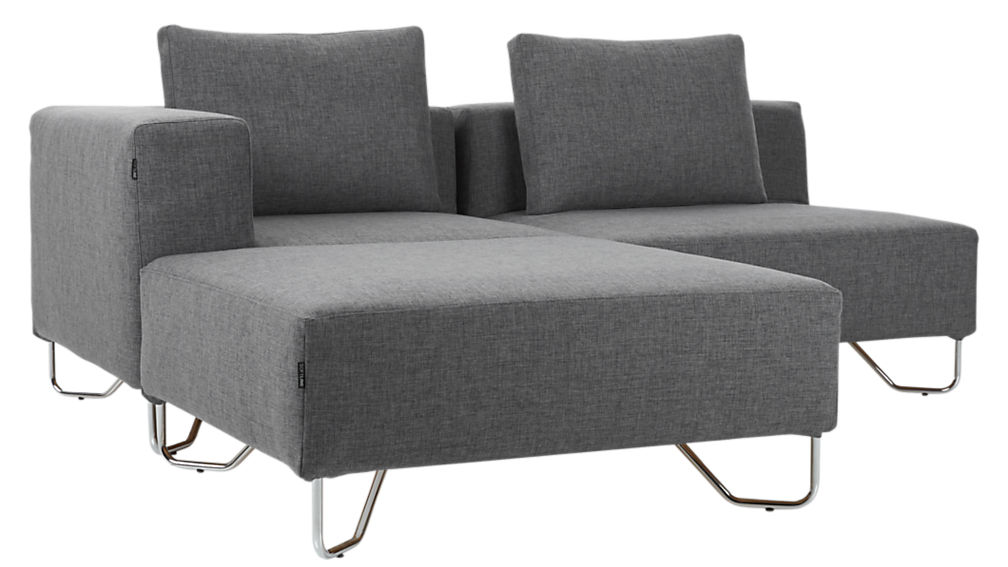 ... Lotus 3 Piece Grey Sectional Sofa ...