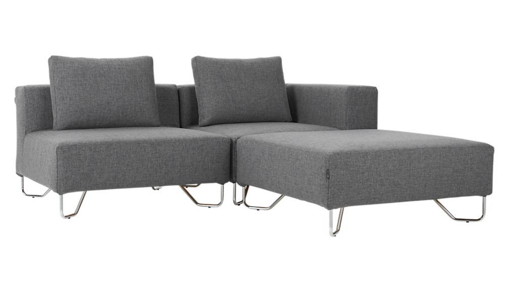 lotus 3-piece grey sectional sofa