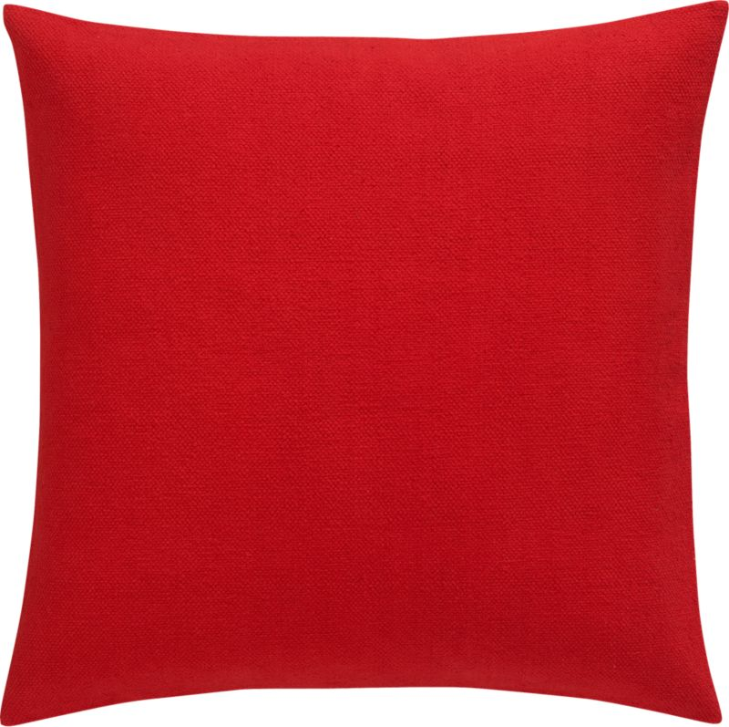 "lounge red 23"" pillow with feather-down insert"