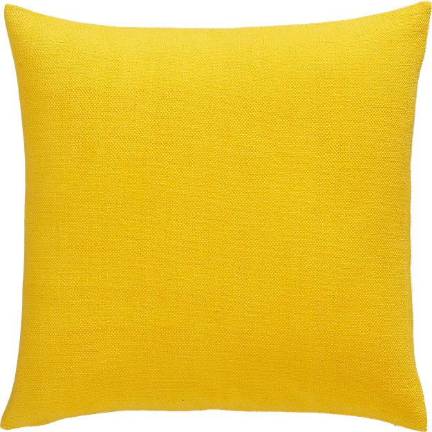 """lounge yellow 23"""" pillow with feather-down insert"""